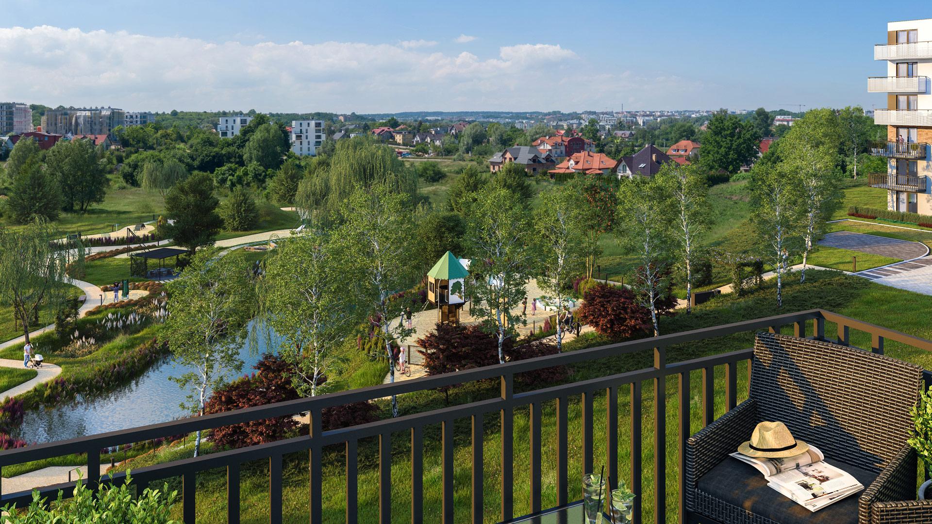 Wielkopowierzchniowy park liczący ponad pół hektara